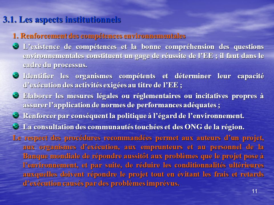 3.1. Les aspects institutionnels