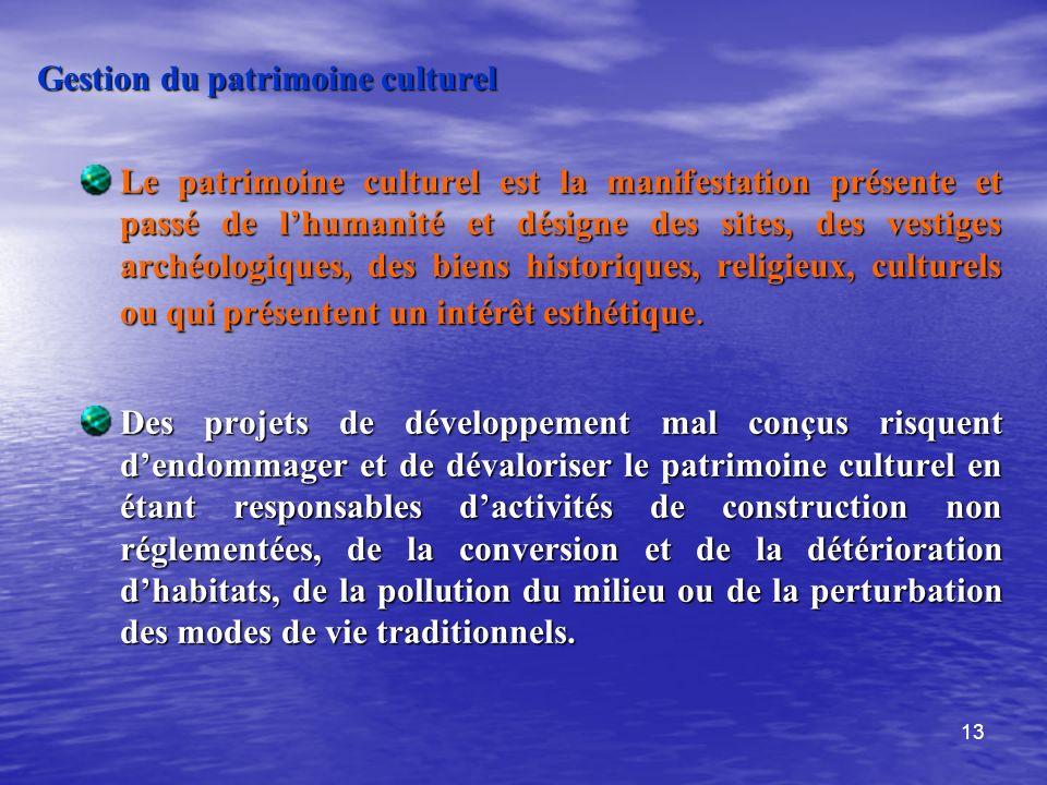Gestion du patrimoine culturel