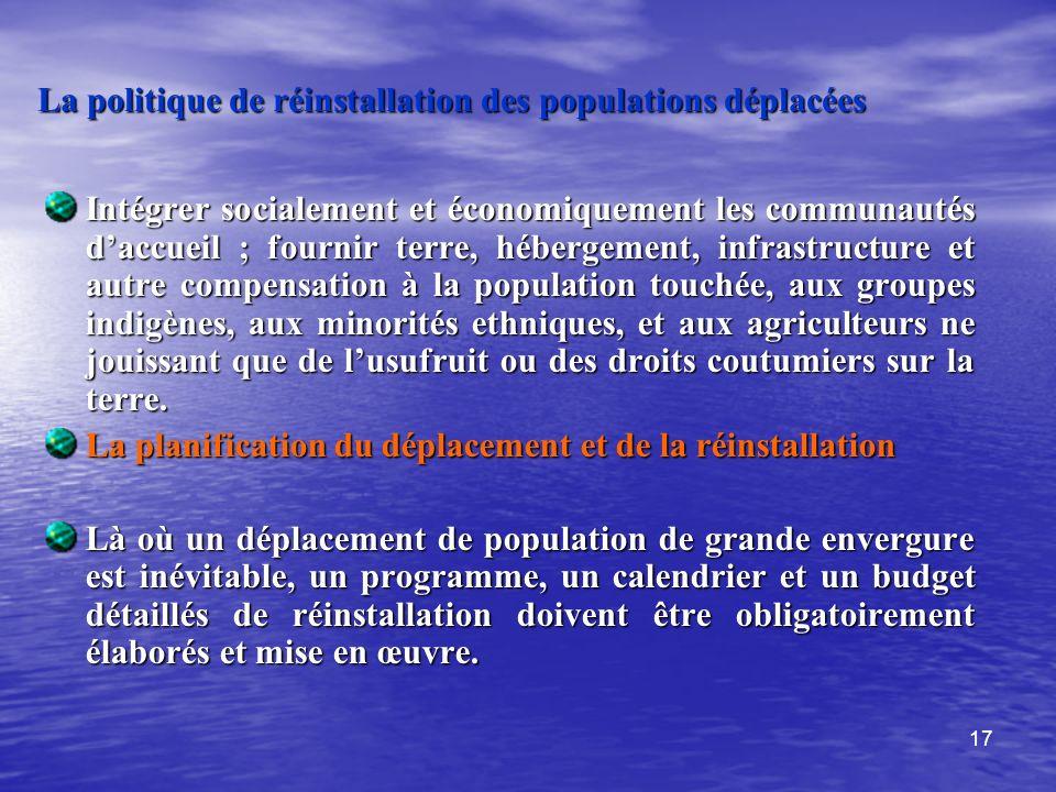 La politique de réinstallation des populations déplacées
