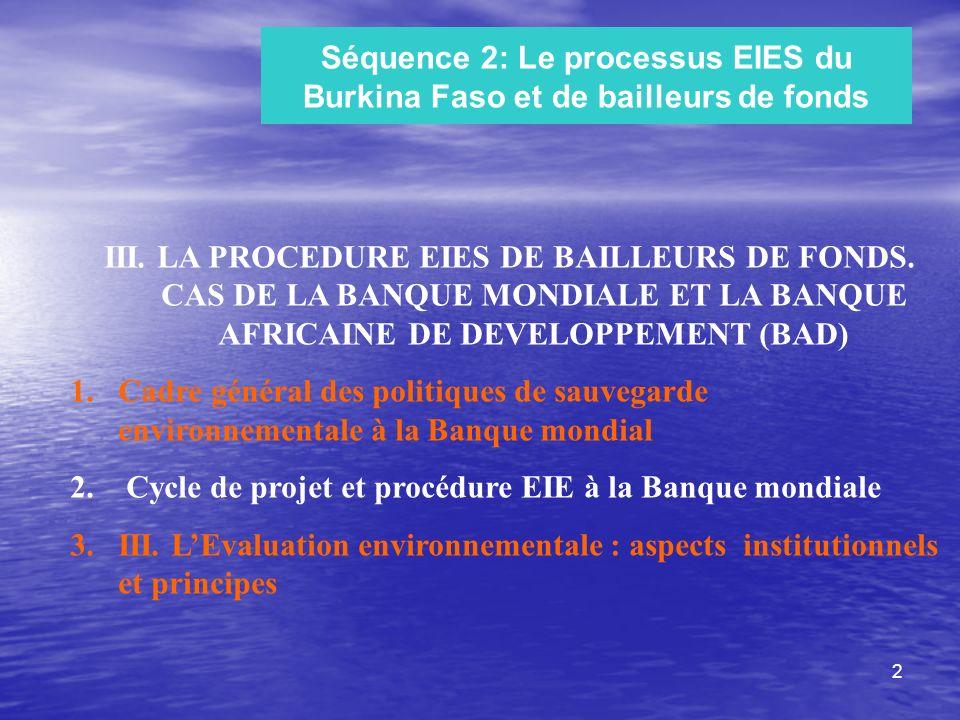 Séquence 2: Le processus EIES du Burkina Faso et de bailleurs de fonds