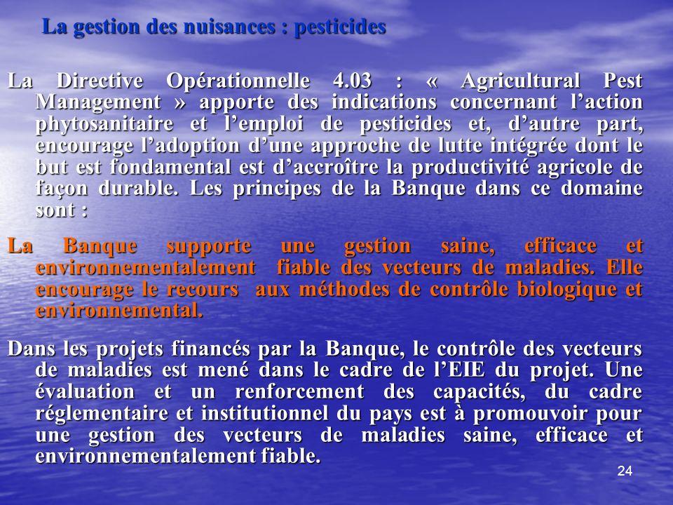 La gestion des nuisances : pesticides