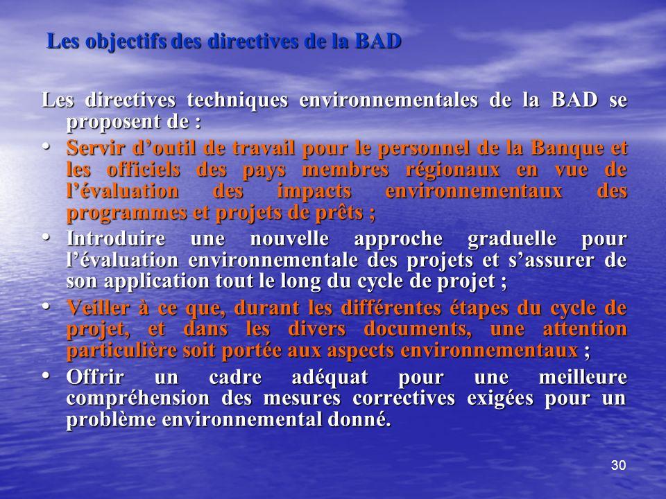 Les objectifs des directives de la BAD