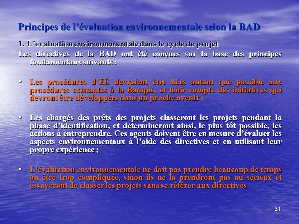 Principes de l'évaluation environnementale selon la BAD