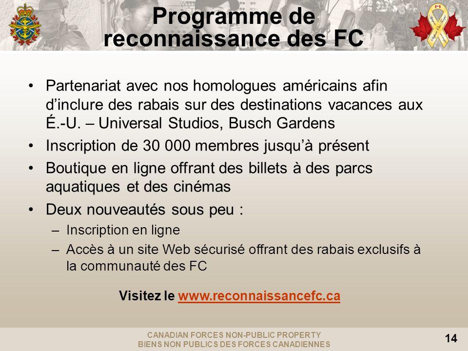 Programme de reconnaissance des FC Visitez le www.reconnaissancefc.ca