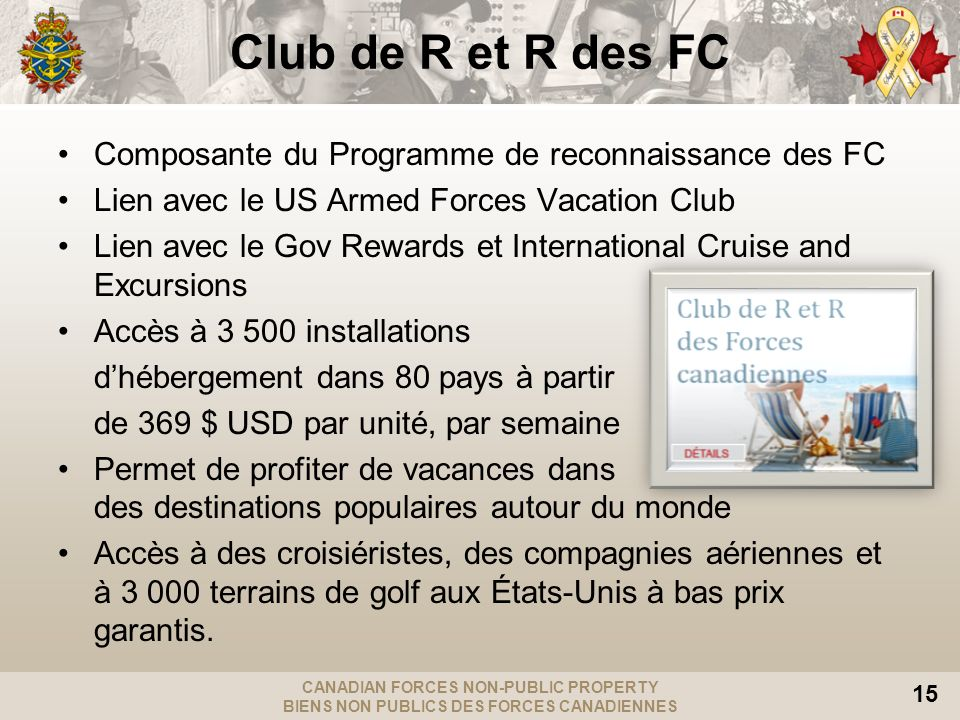Club de R et R des FC Composante du Programme de reconnaissance des FC