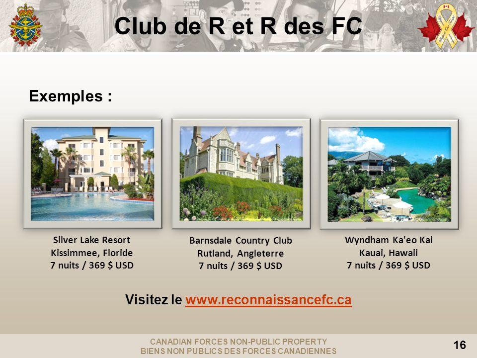 Visitez le www.reconnaissancefc.ca Barnsdale Country Club