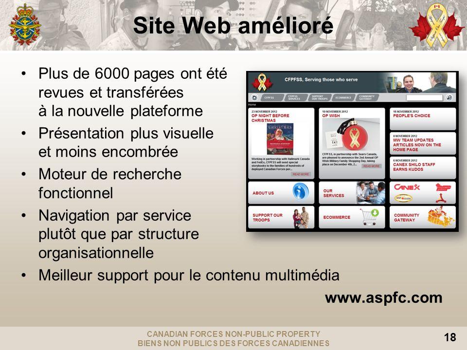 Site Web amélioré Plus de 6000 pages ont été revues et transférées à la nouvelle plateforme. Présentation plus visuelle et moins encombrée.
