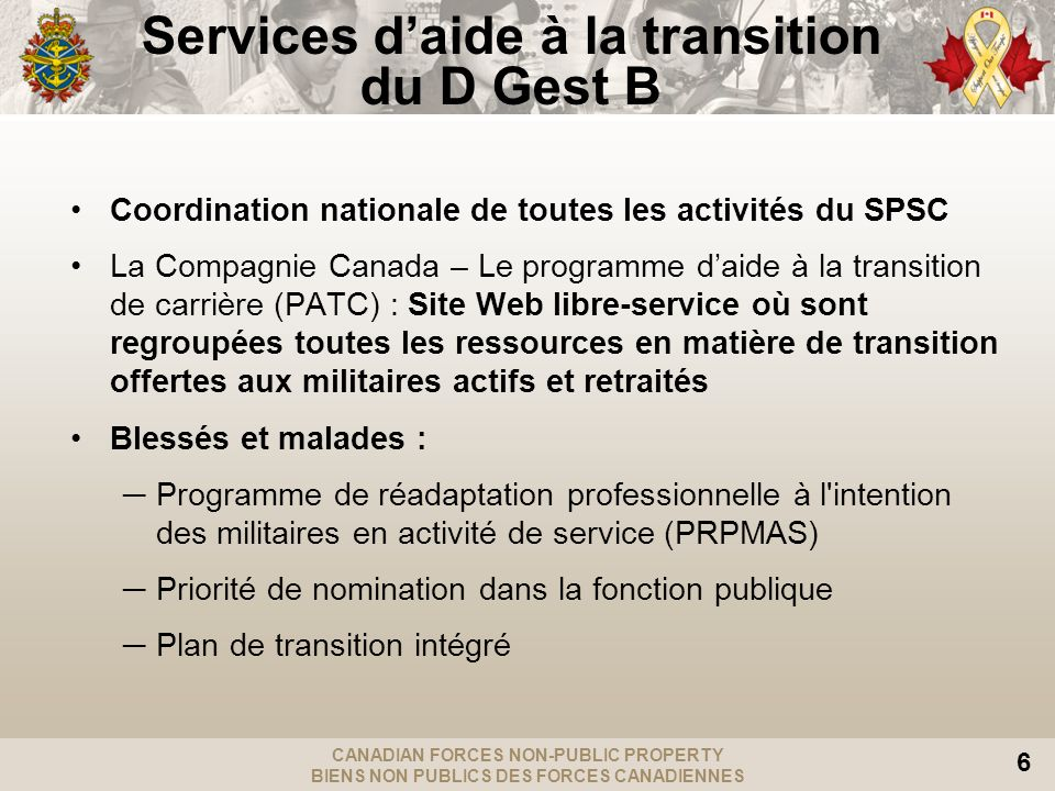 Services d'aide à la transition du D Gest B