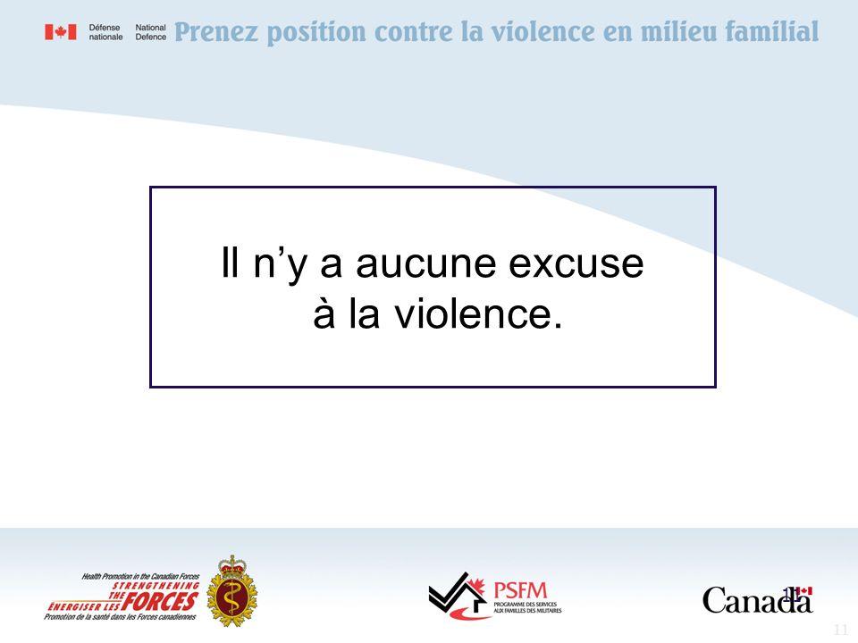 Il n'y a aucune excuse à la violence.