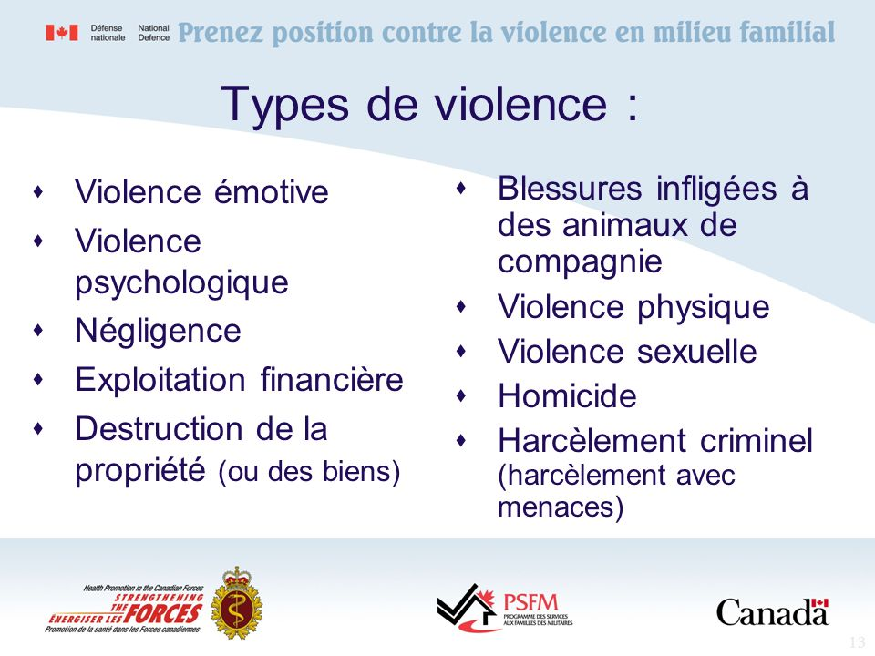Types de violence : Violence émotive Violence psychologique Négligence