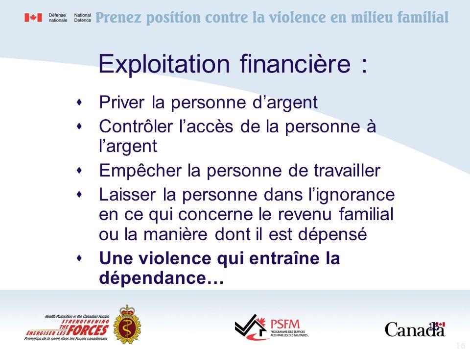 Exploitation financière :