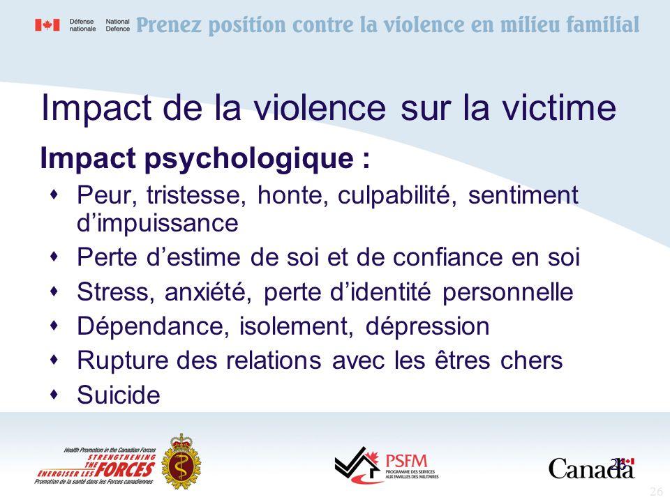 Impact de la violence sur la victime