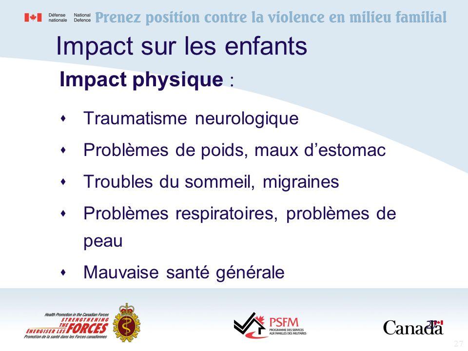 Impact sur les enfants Impact physique : Traumatisme neurologique