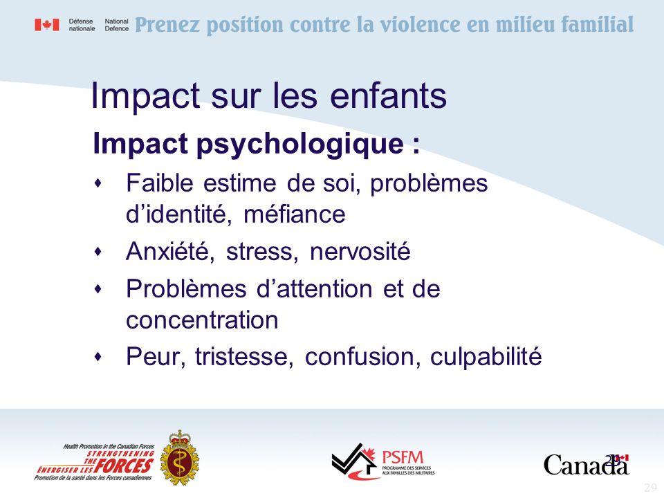 Impact sur les enfants Impact psychologique :
