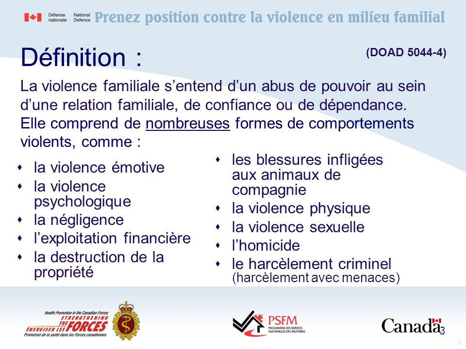Définition :(DOAD 5044-4) La violence familiale s'entend d'un abus de pouvoir au sein d'une relation familiale, de confiance ou de dépendance.
