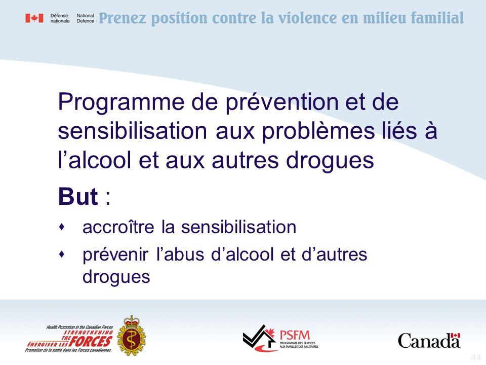Programme de prévention et de sensibilisation aux problèmes liés à l'alcool et aux autres drogues