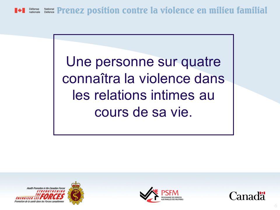 Une personne sur quatre connaîtra la violence dans les relations intimes au cours de sa vie.