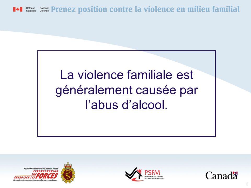 La violence familiale est généralement causée par l'abus d'alcool.