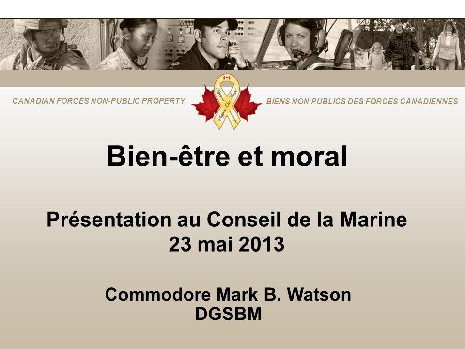 Bien-être et moral Présentation au Conseil de la Marine 23 mai 2013