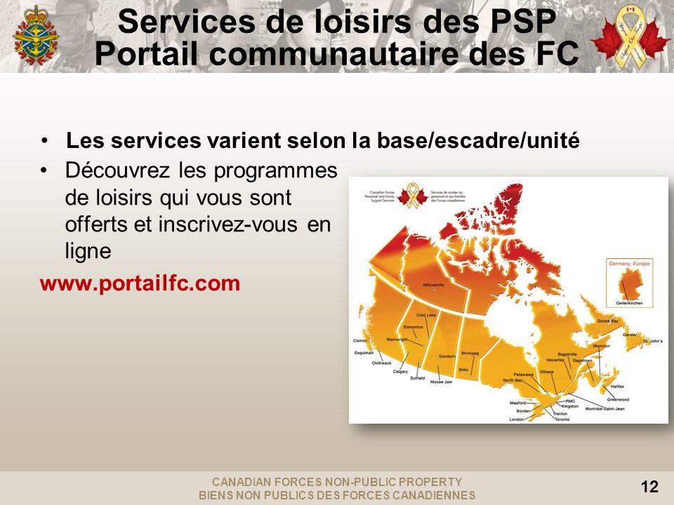 Services de loisirs des PSP Portail communautaire des FC