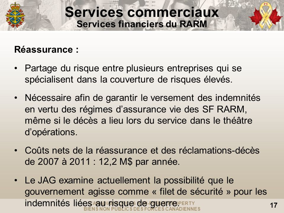Services commerciaux Services financiers du RARM