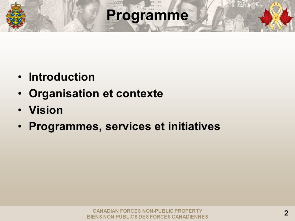 Programme Introduction Organisation et contexte Vision