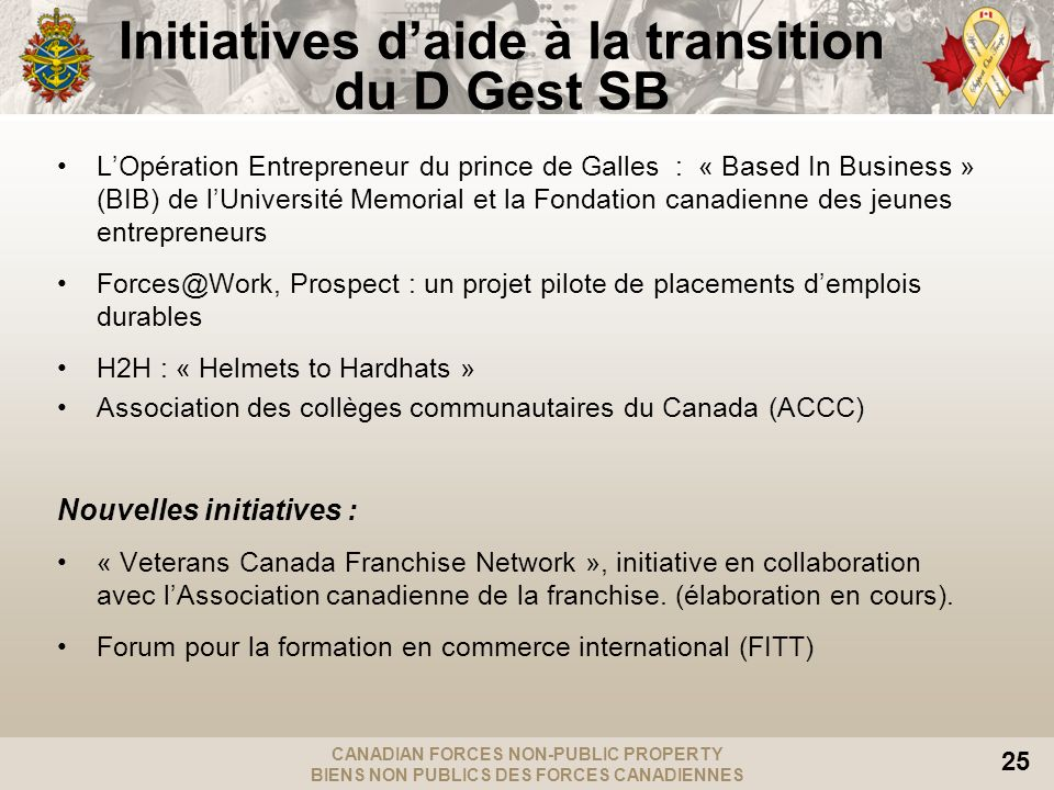Initiatives d'aide à la transition du D Gest SB