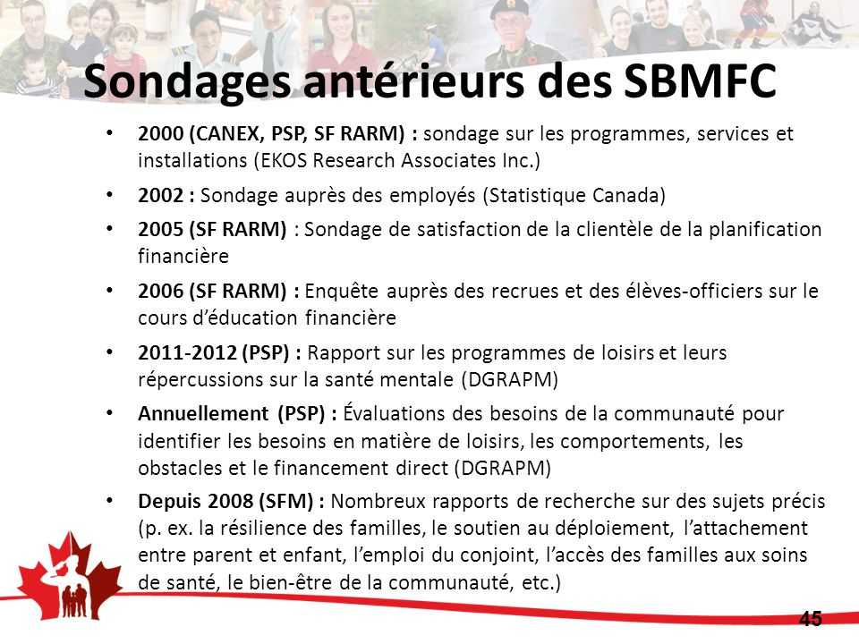 Sondages antérieurs des SBMFC