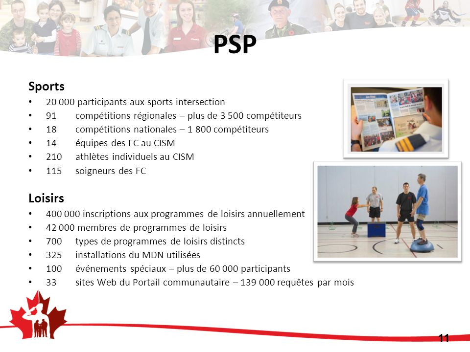 PSP Sports Loisirs participants aux sports intersection