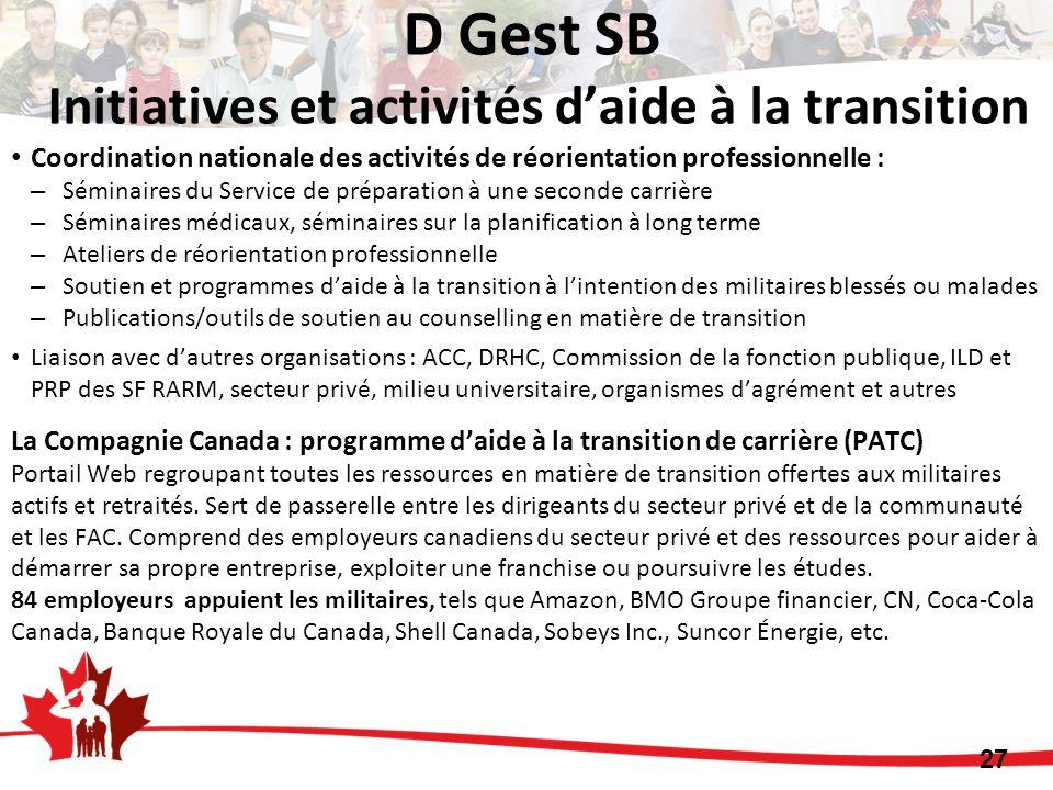 D Gest SB Initiatives et activités d'aide à la transition