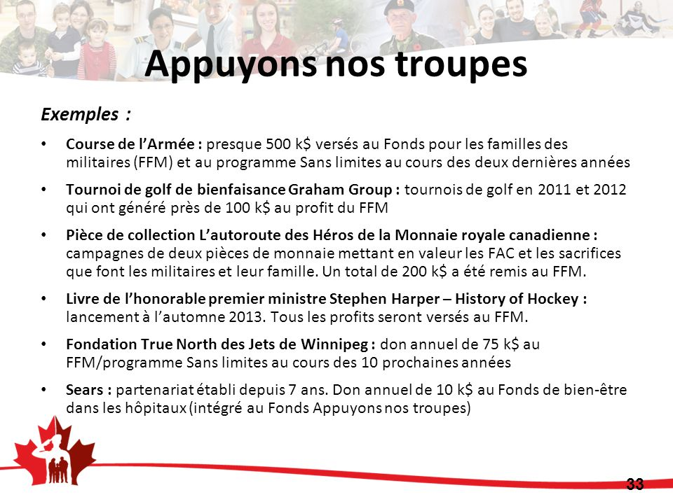 Appuyons nos troupes Exemples :