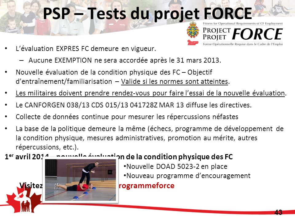 PSP – Tests du projet FORCE