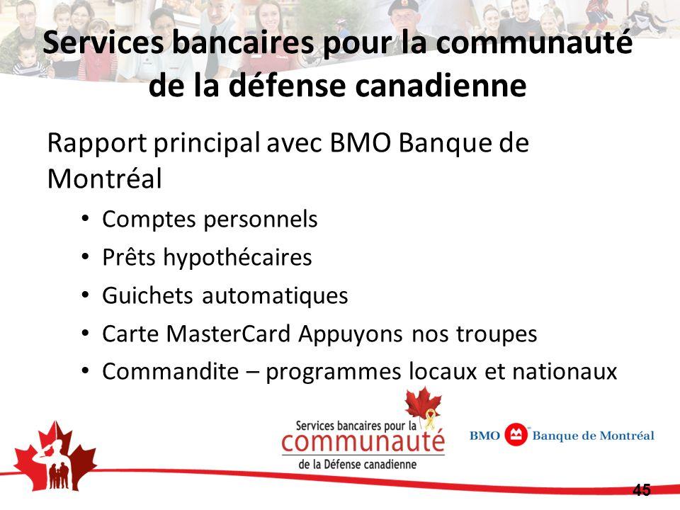 Services bancaires pour la communauté de la défense canadienne