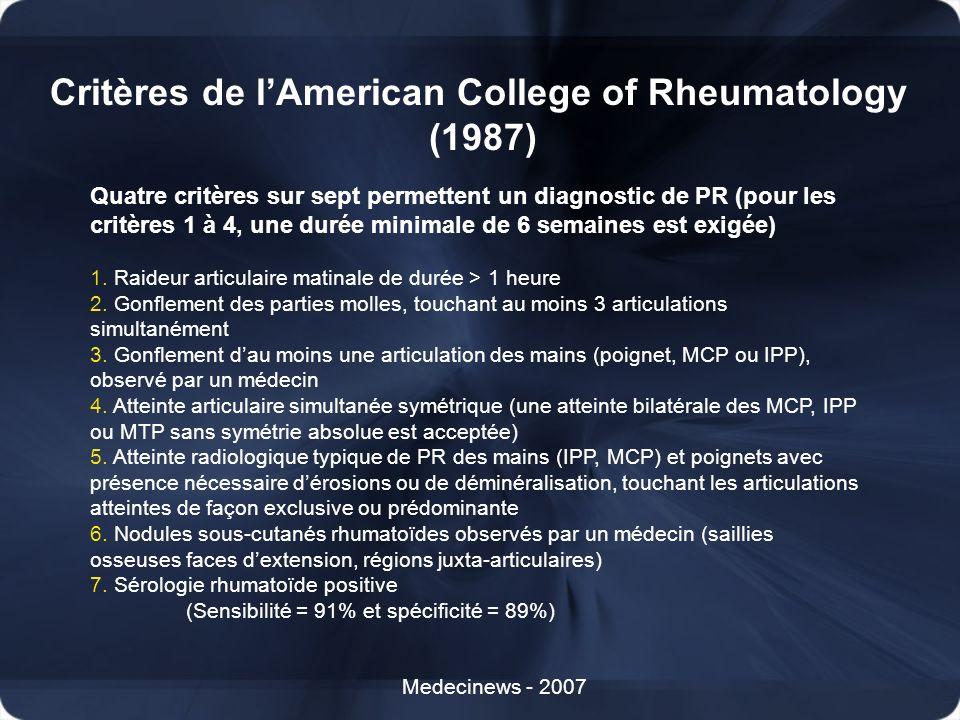Critères de l'American College of Rheumatology