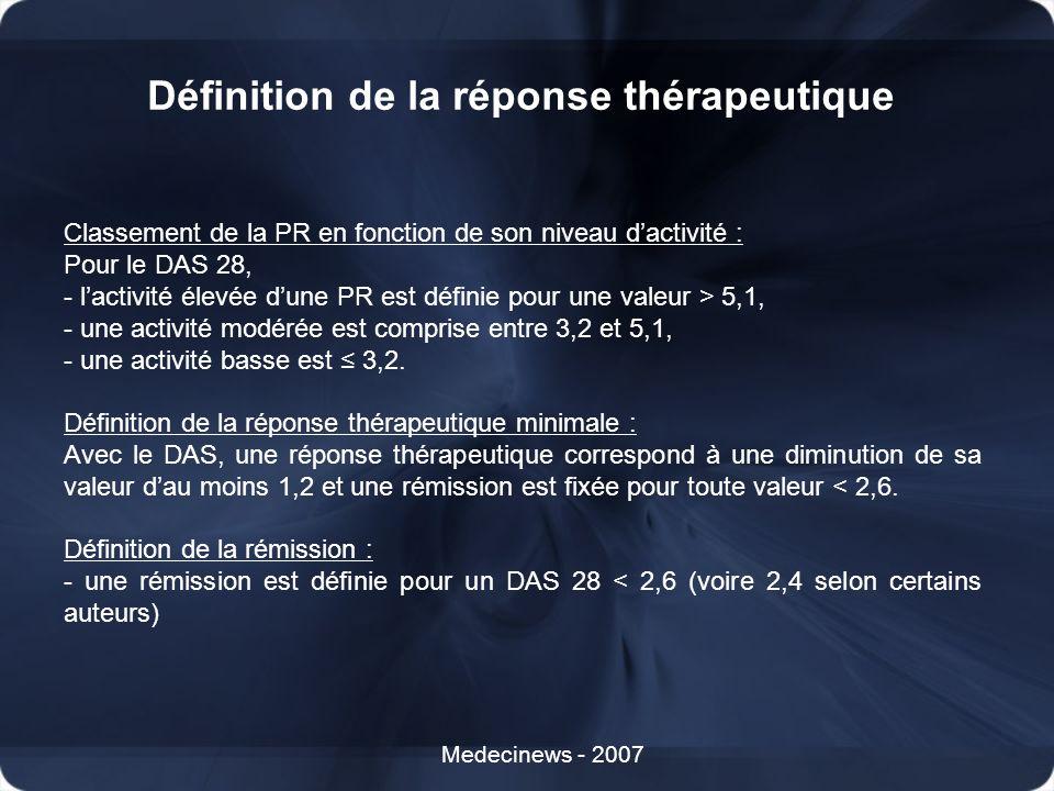 Définition de la réponse thérapeutique