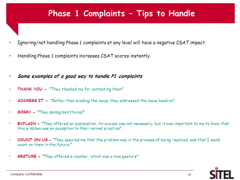 Phase 1 Complaints – Tips to Handle