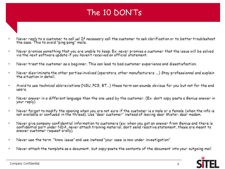 The 10 DON'Ts