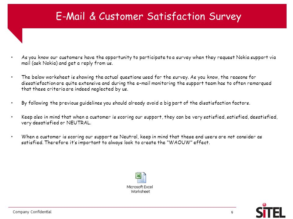 E-Mail & Customer Satisfaction Survey