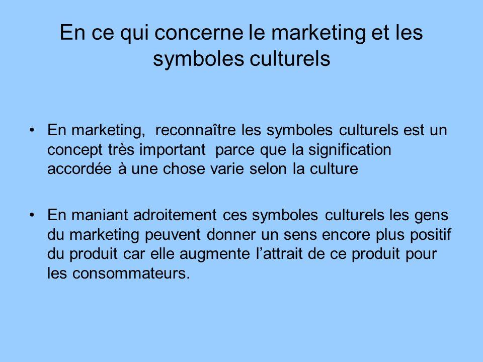 En ce qui concerne le marketing et les symboles culturels