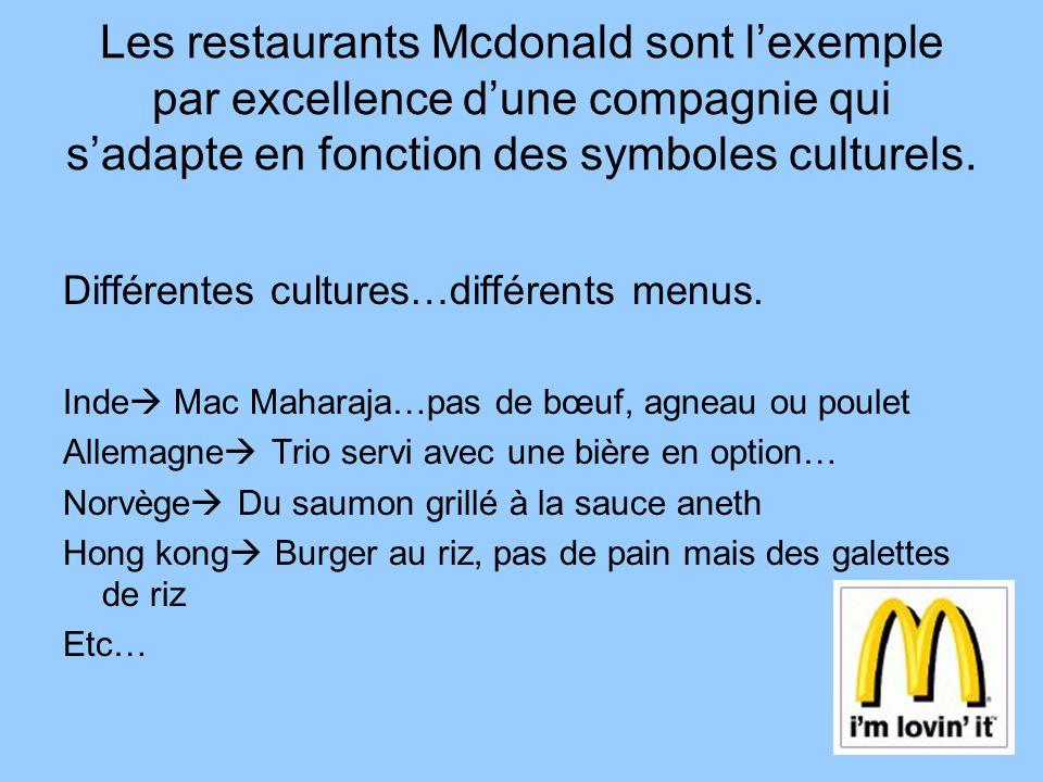 Les restaurants Mcdonald sont l'exemple par excellence d'une compagnie qui s'adapte en fonction des symboles culturels.