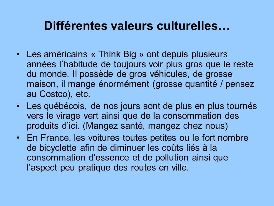 Différentes valeurs culturelles…