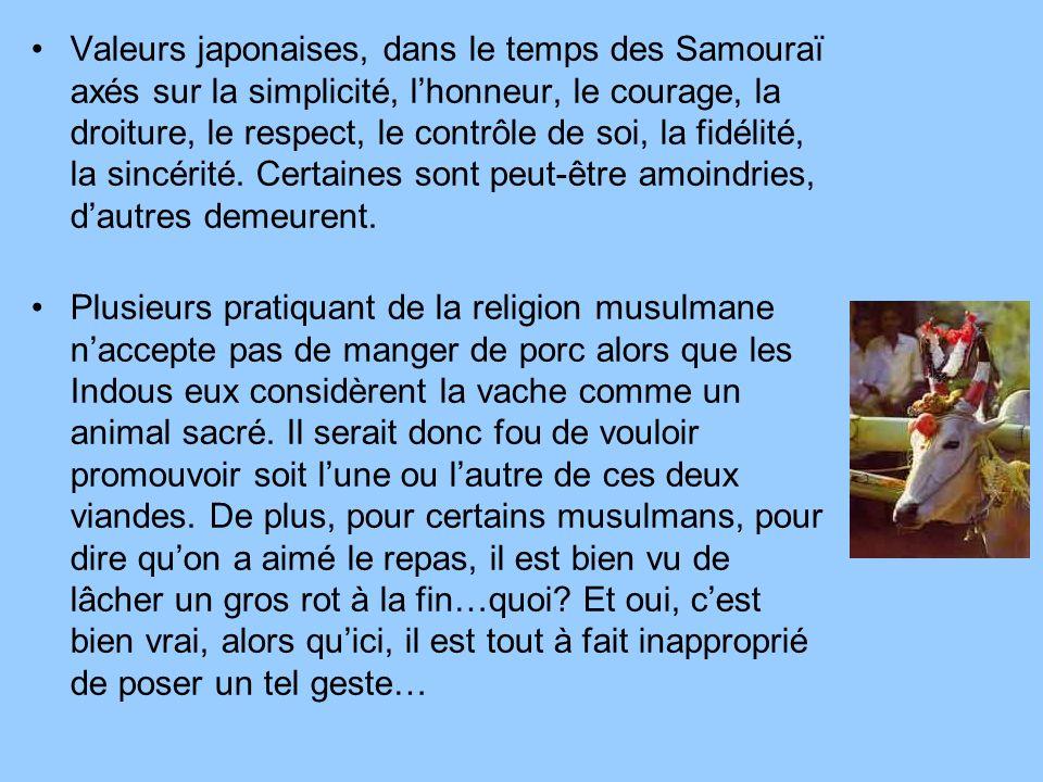 Valeurs japonaises, dans le temps des Samouraï axés sur la simplicité, l'honneur, le courage, la droiture, le respect, le contrôle de soi, la fidélité, la sincérité. Certaines sont peut-être amoindries, d'autres demeurent.