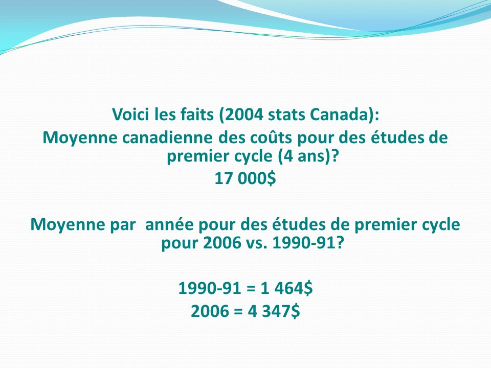 Voici les faits (2004 stats Canada):