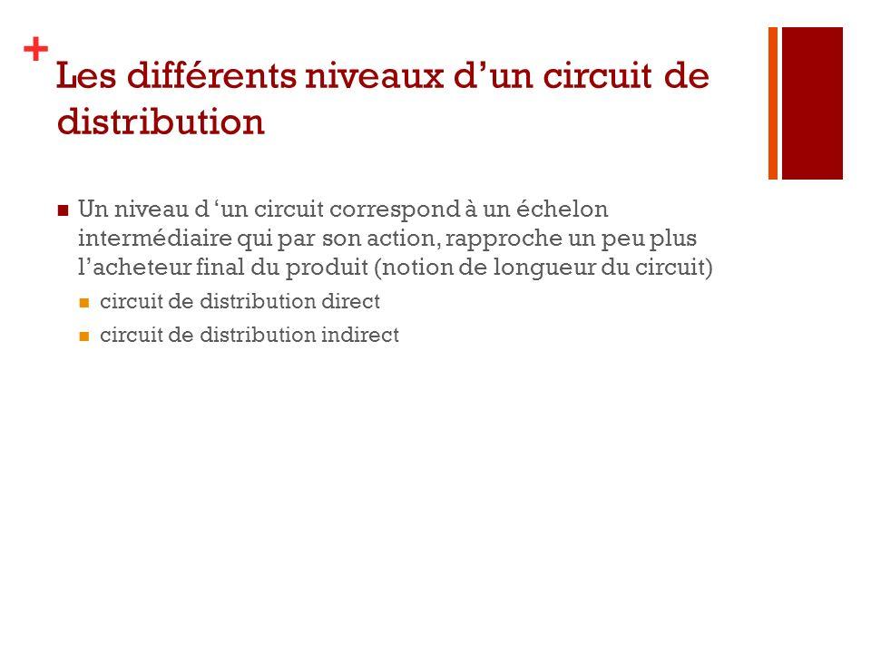 Les différents niveaux d'un circuit de distribution