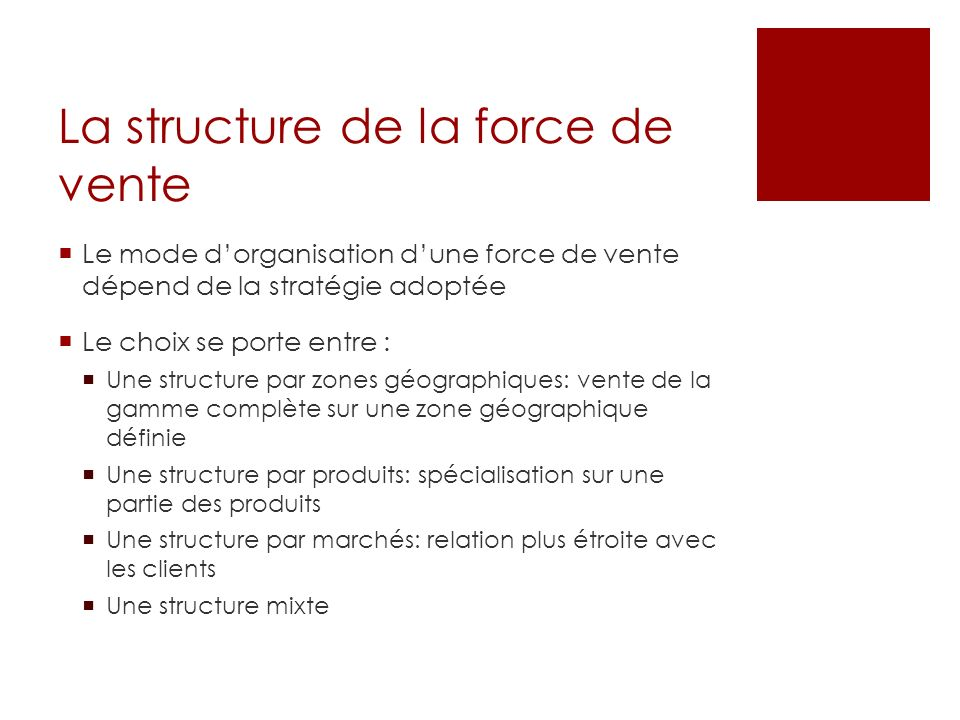 La structure de la force de vente