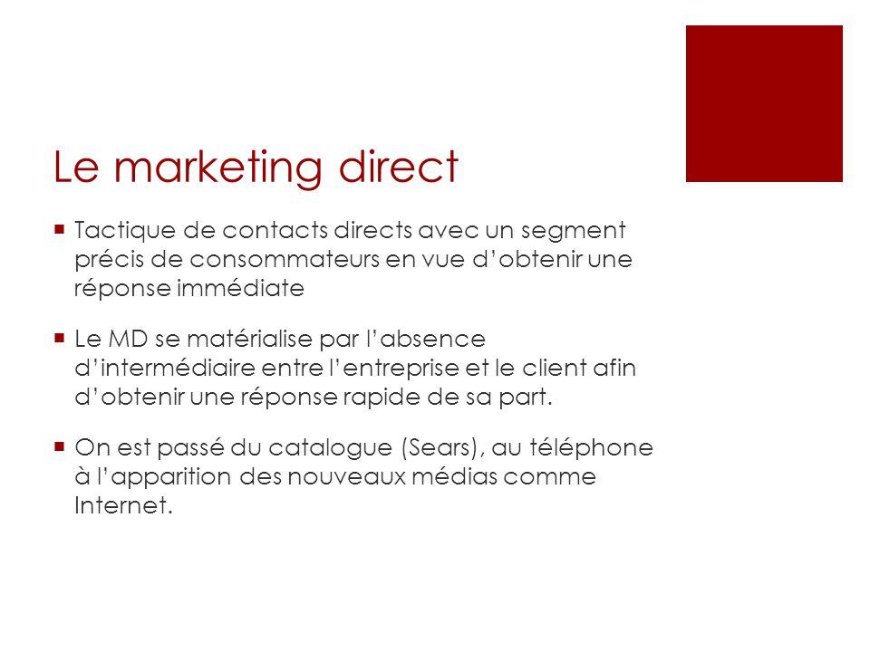 Le marketing direct Tactique de contacts directs avec un segment précis de consommateurs en vue d'obtenir une réponse immédiate.