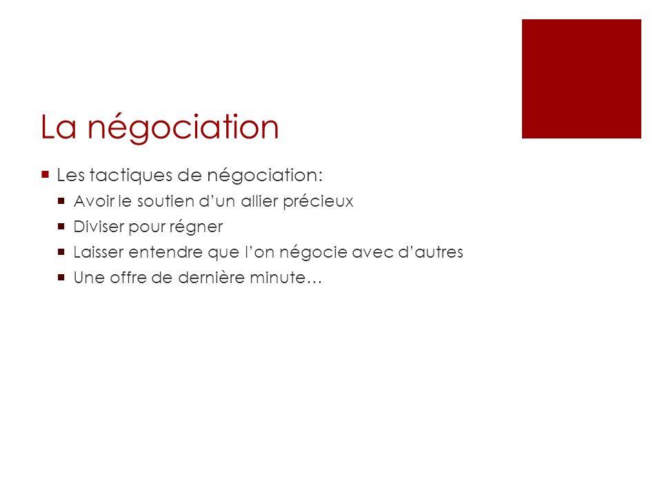 La négociation Les tactiques de négociation: