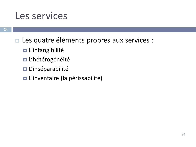 Les services Les quatre éléments propres aux services :