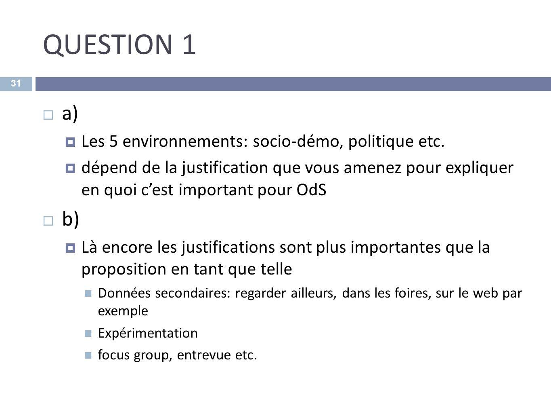 QUESTION 1 a) b) Les 5 environnements: socio-démo, politique etc.