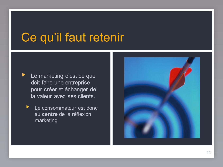 Ce qu'il faut retenir Le marketing c'est ce que doit faire une entreprise pour créer et échanger de la valeur avec ses clients.